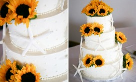 beach-wedding-cake-starfish-sunflowers