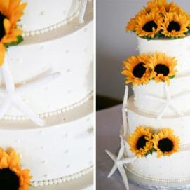 beach-wedding-cake-starfish-sunflowers